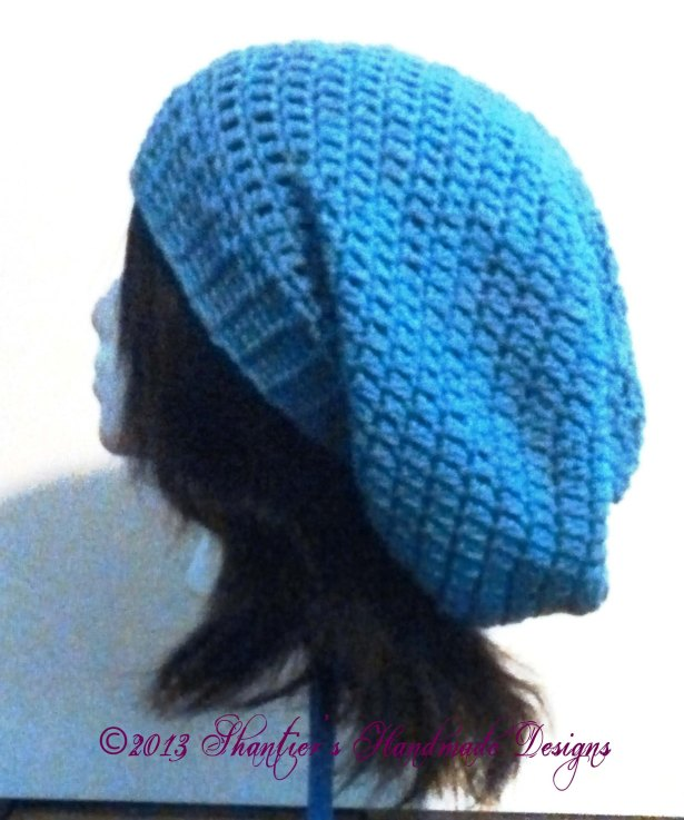 Slouch hat with Ribbed Brim by Shantier's Handmade Designs - side