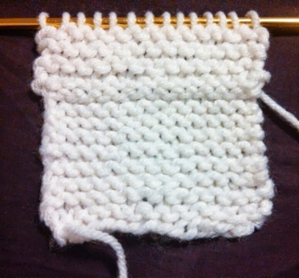 Here is the same swatch I was practicing on but with the purl stitch on top.