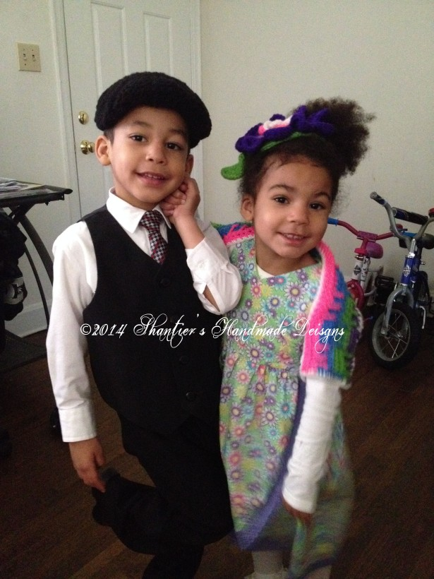 My kids modeling Big Boy's Cabled Golf Cap, Flower Princess Hat and Playblocks Bolero.