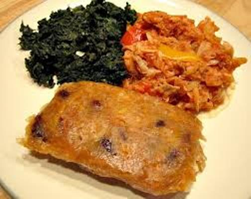 Ducana with saltfish and spinach